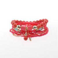 браслет дружбы из бисера оптовых-Natural Stone  Bracelet Women Mens Bracelets 2018 White Red Beaded Wrap Bracelets Handmade Friendship Bracelet Bohemia