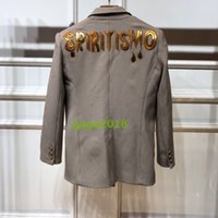 Wholesale girls metallic jacket for sale - Group buy NEW WOMEN GIRLS Linen jacket with Metallic leather quot Spiritismo quot appliqué on the back Beige brown pied Single breasted jacket coat outwear