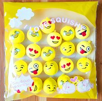 Wholesale Wholesale Cellphone Charms - 30PCS Emoji Expression Face Squishy Bread Pedant Cellphone Strap Charm