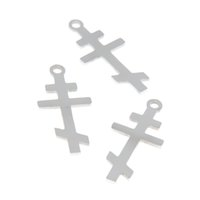 Wholesale byzantine crosses for sale - Group buy 5pcs Orthodox Cross charm Christian Byzantine Cross Stainless steel Charm pendant x13mm