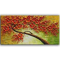 peinture murale fleur rouge achat en gros de-100% Peint À La Main Art Peinture À L'huile Sur Toile Texture Rouge 3D Fleurs Peintures Moderne Décor À La Maison Mur Art Peintures