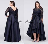Navy blue Lace Bodice Plus-Size High-Low Ball Gown Mother of The Bride Groom Dresses 2018 Modest Half Sleeve Occasion Prom Dress