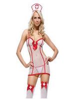 cosplay kıyafetler seksi toptan satış-Yüksek Kalite Yeni Seksi Coser Seksi Kadın Lingerie Hemşire Kostüm Cosplay Cadılar Bayramı Kıyafet Fantezi Elbise Gecelikler Ypf158