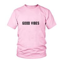 bons hauts pour les filles achat en gros de-Femmes Tee Nouvelle Arrivée Bonne Vibes De La Mode Tumblr T Shirt Casual Filles Tops Tees Unisexe T Shirt De Haute Qualité T Shirt Casual Femme