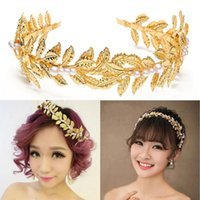 Wholesale Women quot s Fashion Grecian Retro Golden Leaves Pearl Headband Crown Wedding Wedding quot
