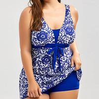 Wholesale hottest plus size swimwear for sale - Plus Size Swimwear Women Hot Sell One Piece Swimsuit Dot Bandage Floral Print Bathing Suit Sexy Halter Summer Swimming Suit