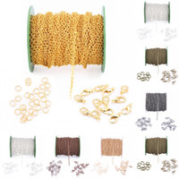 Wholesale Open Cabling - 4X6mm Link Set Lobster Claw Clasp Open Jump Ring Cable Chain Spool Antique Bronze Color For DIY Necklaces Etc D837L
