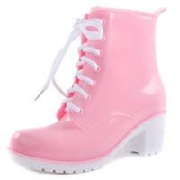 Wholesale transparent women boots for sale - NEW Rain Boots Women Ankle Boots Platform High Heels Rubber Shoes Woman Lace Up Rain boots Candy Color Size