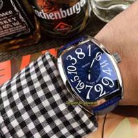 ko großhandel-9 stil hochwertige uhren verrückte stunden edelstahl automatische herrenuhr 8880 ch blaues zifferblatt lederband herrenuhren