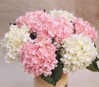 beyaz çiçek başları toptan satış-Yapay Çiçekler Noel partisi Moda Düğün Ipek Yapay Ortanca Çiçek KAFA Beyaz Çapı 20 cm Ev Süs Dekorasyon