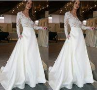 bed1b004d515 Abito da sposa manica lunga moda con pizzo illusione vedi gonna superiore  con tasche Designer abiti da sposa linea abito da sposa