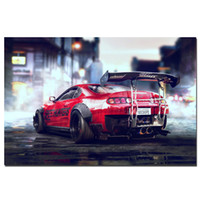 Wholesale abstract sports wall art painting - Toyota Supra Sports Car Poster Canvas Cloth Fabric Print for Home Decor Wall Art Poster