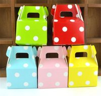Wholesale dot wrapping paper resale online - New Home MOQ color Birthday paper candy box wedding favors polka dot candy boxes Kids Party Favor Box DIY Gift Box Polka Candy Bag