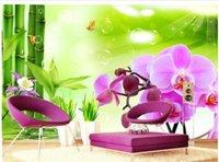 ingrosso 3d murale di bambù-Bamboo orchid TV sfondo muro murale 3d carta da parati 3d carte da parati per tv sullo sfondo