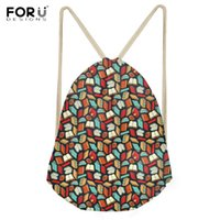 Wholesale book lovers - FORUDESIGNS 2018 New Fashion Drawstring Bags Funny 3D Book Lover Teacher Pattern School Sack Bags Girls Travel Storage Backpacks