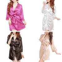 женская одежда для кимоно оптовых-Women's Short Kimono Style V-Neck Sexy Bathrobe Plain Dressing Gown Bridal Party Robe T Thong Plus Size Hot Sale 2018