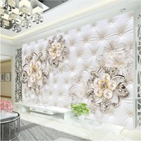 Wholesale Full House Wallpaper - Large 3d European Pearl and Rose Jewelry TV Background Wallpaper Living Room Wallpaper Full Seamless Mural
