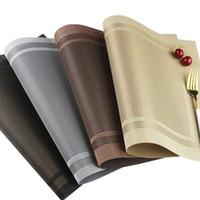 ingrosso tappetini da tavola-Stile Europeo Table Mats doppia cornice rettangolare PVC occidentali Pad semplice tabella impermeabile di resistenza al calore ciotola Mats Dish