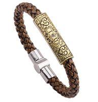 Wholesale leather bracelet stock resale online - In stock Hot Sale Mens Vintage Weave Chain Wristband Stainless Steel Leather Bracelet Men Classic Bracelets Bangle Jewelry Wristband Jewel