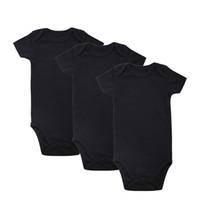bebek giyim paketleri toptan satış-2018 Yenidoğan Unisex ihale Bebekler 100% Pamuk 3-Pack Bebek Marka Giyim Kısa Kollu Düz Siyah Bodysuits Giysi Kıyafet 0-12 M