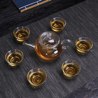 Wholesale tea glasses set resale online - Thicken Glass Flower Teapot With Teacup Clear Kettle Best Heat Resistant Tea Set For Office Home Table Decor mx Bb