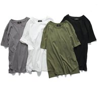 Wholesale mans clothings online - Summer Longlines Tee Hip Hop Tops Patchwork Mens Solid T Shirt Short Sleeves O Neck Streetwear Top Clothings Homme