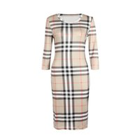 Wholesale clothing online - 2018 New Women Dress Summer O Neck Three Quarter Sleeve Plaid Party Work Business Fashion Designer Dresses Clothing