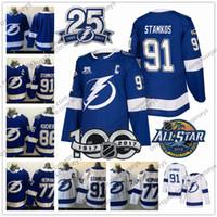 Wholesale Victor Hedman - Tampa Bay Lightning 25th Jerseys #91 Steven Stamkos 86 Nikita Kucherov 77 Victor Hedman Blue White Stitched 100th 2018 All Star Patch hockey