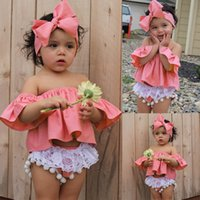 Wholesale Flying Outfits - 2017 INS baby girl toddler 3piece set outfits off-shoulder fly sleeve Tops Shirts Vest + Tassels Lace Shorts Pants Bloomers + Bow headband