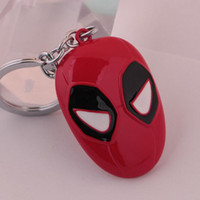 pingentes máscara venda por atacado-10 pçs / lote Jóias Na Moda Marvel Comics Superhero Deadpool Chaveiro Red Mask Metal Pingente Chaveiro Para Homens Moda Chaveiro Do Carro