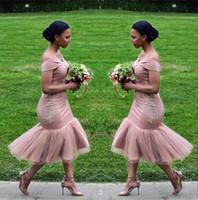 Wholesale wedding dresses short length sheath resale online - Off The Shoulder Bridesmaid Dresses African Satin Tulle Lace Applique Sheath Tea Length Maid of honor Wedding Guest Dresses BA9508
