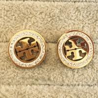 tam kulak küpeleri toptan satış-En lüks Marka Tasarımcısı altın tam elmas Saplama Küpe Harfler Kulak Kadınlar için Damızlık Küpe Takı Aksesuarları Düğün Hediy ...