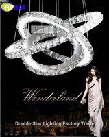 anillo de diamantes colgante de luz al por mayor-FUMAT Venta caliente Diamond 3 ring LED Crystal Modern Chandelier Light Lámpara Colgante Círculos 100% Garantía de posición diferente tamaño