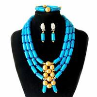 ingrosso gioielli imitazione nuziale-New 3 file blu turchese imitazione corallo collana di perline nigeriano set di gioielli da sposa gioielli da sposa donne gioielli africani set di gioielli