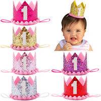 ingrosso cappelli di compleanno blu-Baby Birthday Boy Blue Silver Primo compleanno Hat Girl Gold Pink Princess Crown Numero 1 Year Party Hat Glitter compleanno fascia