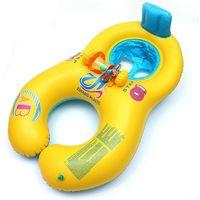 bebek yüzmek boyun yüzer toptan satış-Şişme Bebek Yüzme Boyun Halkası Anne Ve Çocuk Yüzme Daire Çift Yüzme Yüzükler Havuz Yüzen Koltuk Halka 17 99hr X