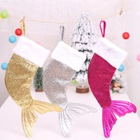 Wholesale tail sock resale online - Christmas Decorations Mermaid Stocking Gift Wrap Bags Bling Bling Bead Flip Tail Socks Xmas Home Decor DHL SHIP WX9