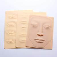 tatuajes falsos de piel al por mayor-Silicona 3D Maquillaje permanente Práctica de entrenamiento de tatuaje Piel falsa Labios oculares en blanco Cara para Microblading Tattoo Machine Beginne