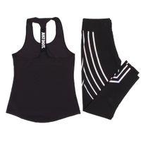 ingrosso maglie di yoga-Donna Yoga Set Sport Top Vest + Leggings riflettenti Abbigliamento fitness Pantaloni da corsa da jogging Allenamento Yoga Leggings Tuta sportiva
