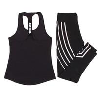 trainingsanzug frauen großhandel-Frauen Yoga Set Sport Top Weste + Reflektierende Leggings Fitness Kleidung Laufhosen Joggen Workout Yoga Leggings Sport Anzug
