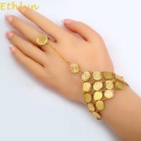 pulseiras de ouro do oriente médio venda por atacado-Ethlyn Moedas Pulseira para As Mulheres Islam Muçulmano Árabe Moeda Dinheiro Sinal da Cor do Ouro Oriente Médio Jóias Bangle Metal Coin B017