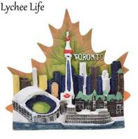 ingrosso autoadesivo foglia d'acero-Lychee Life Canada Scenic Frigorifero Magnetic Sticker Toronto Paesaggio Maple Leaf Fridge Magnet Modern Home Kitchen Decor