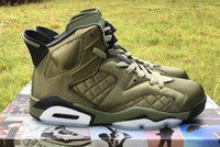 Wholesale black leather flight jacket - High Quality 6 6s Flight Jacket Pinnacle Saturday Night Live Army Green Basketball Shoes Mens 6s Nylon Army Green Sneakers