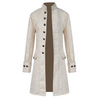 Giacca da uomo in broccato gotico Cappotto invernale Cappotto di lana a maniche lunghe con maniche lunghe a vapore Steampunk