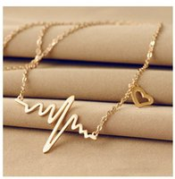 Wholesale dangling necklaces resale online - factory price fashion necklace jewelry NEW EKG Heart Beat Necklace Heartbeat Rhythm with Dangling Heart necklace