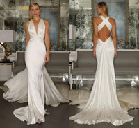 Wholesale sexy greek wedding dresses for sale - Group buy vintage Greek Goddess Beach wedding dresses mermaid sexy plus size backless soft bohemian holiday wedding dress cheap