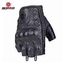 Wholesale motorcycle biker leather - Motorcycle Gloves Summer Fingerless Top Leather Men Women Mitt Glove Biker Moto Mitten Electric Bike Racing Cycling Motorbike