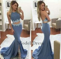 Wholesale piece dress slit prom resale online - Sexy Two Pieces Prom Dresses Mermaid Halter Backless Lace Applique Front Slit Girls Graduation for Prom Gowns Sweep Train Evening Gowns