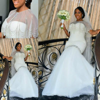 Wholesale wedding dresses bling caps for sale - Bling Beads African Plus Size Mermaid Wedding Dresses With Wrap Sequins Applique Bridal Gown Train Church Bride Dress New Arrival