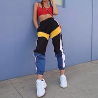 Wholesale cargo bottoms - Women High Waist Patchwork Pants 2018 Summer Fashion Black Pencil Pants Streetwear Cargo Pants Loose Jogger Women Bottom